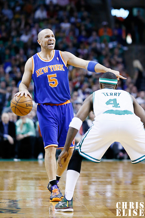 26 March 2013: New York Knicks point guard Jason Kidd (5) sets the offense during the New York Knicks 100-85 victory over the Boston Celtics at the TD Garden, Boston, Massachusetts, USA.