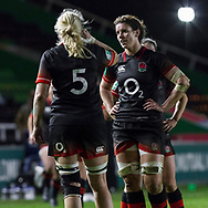 Sarah Hunter talks to Tamara Taylor in a break in play, England Women v Canada in an Autumn International match at The Stoop, Twickenham, London, England, on 21st November 2017 Final score 49-12