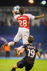Joel Campbell #28 of Arsenal F.C. vs Josip Pivaric #19 of GNK Dinamo Zagreb during football match between GNK Dinamo Zagreb, CRO and Arsenal FC, ENG in Group F of Group Stage of UEFA Champions League 2015/16, on September 16, 2015 in Stadium Maksimir, Zagreb, Croatia. Photo by Ziga Zupan / Sportida