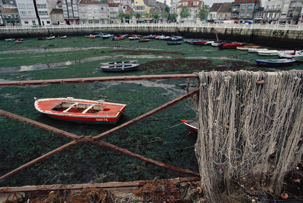 Vilagarcia port  with mussel mud flats, Galicia, North West Spain.
