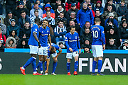 Dominic Calvert-Lewin (#29) of Everton celebrates Everton's first goal (0-1) with Everton team mates during the Premier League match between Newcastle United and Everton at St. James's Park, Newcastle, England on 9 March 2019.