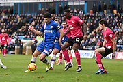 Gillingham defender John Egan on the attack in the Peterborough penalty area during the Sky Bet League 1 match between Gillingham and Peterborough United at the MEMS Priestfield Stadium, Gillingham, England on 23 January 2016. Photo by David Charbit.