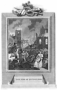 Fire of London - 1666.  Charles II and Duke of York's party examining the scene. Copperplate. engraving 1825