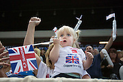 UNITED KINGDOM, London: 2015 World Wheelchair Rugby Challenge. Caption: Ciara McDerby aged three, watches on in awe as her father Paul McDerby plays. Rick Findler / Story Picture Agency