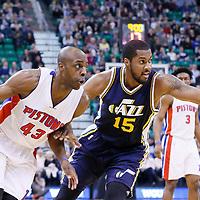 25 January 2016: Detroit Pistons forward Anthony Tolliver (43) drives past Utah Jazz forward Derrick Favors (15) during the Detroit Pistons 95-92 victory over the Utah Jazz, at the Vivint Smart Home Arena, Salt Lake City, Utah, USA.