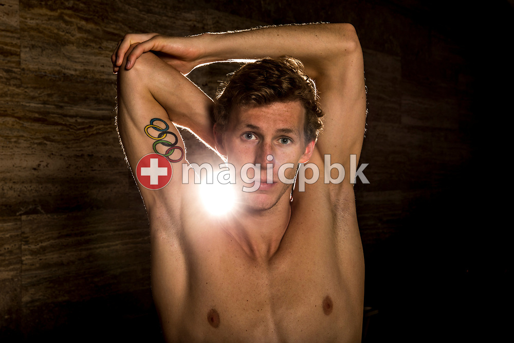 Swimmer Jeremy DESPLANCHES of Switzerland poses for a portrait during a photo session during the Swiss Swimming Championships at the Piscine des Vernets in Geneva, Switzerland, Saturday, March 25, 2017. (Photo by Patrick B. Kraemer / MAGICPBK)
