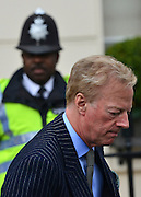 © Licensed to London News Pictures. 15/04/2013. London, UK.  Sir Mark Thatcher leaves Baroness Thatcher's former home in London. Photo credit : Stephen Simpson/LNP