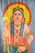 God Kataragama or Lord Murugan.<br /> Painted devale screen at Hindu shrine, Sangamankanda on the East Coast.