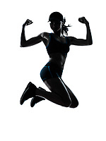 one caucasian woman runner jogger jumping powerful in silhouette studio isolated on white background