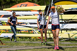 During qualifying round  Rowing World Cup on May 9, 2015, at Bled's lake, Bled, Slovenia. (Photo by Grega Valancic / Sportida)