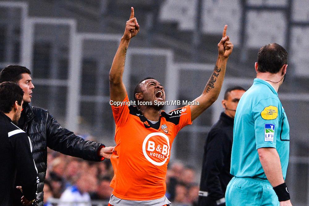 Joie Jordan AYEW - 24.04.2015 - Marseille / Lorient - 34eme journee de Ligue 1<br />Photo : Gaston Petrelli / Icon Sport