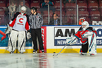 KELOWNA, BC - NOVEMBER 1: Cole Schwebius #31 of the Kelowna Rockets stretches on the ice during warm up as affiliate player Carter Woodside #30 of the Prince George Cougars speaks to linesman Dave McMahon at Prospera Place on November 1, 2019 in Kelowna, Canada. (Photo by Marissa Baecker/Shoot the Breeze)