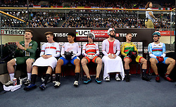 Joseph Truman of Great Britain (2nd left) before the Men's Keirin First Round race during day two of the Tissot UCI Track Cycling World Cup at Lee Valley VeloPark, London.