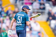Picture by Allan McKenzie/SWpix.com - 19/05/2019 - Sport - Cricket - 5th Royal London One Day International - England v Pakistan - Emerald Headingley Cricket Ground, Leeds, England - England's Jonny Bairstow examines his bat.