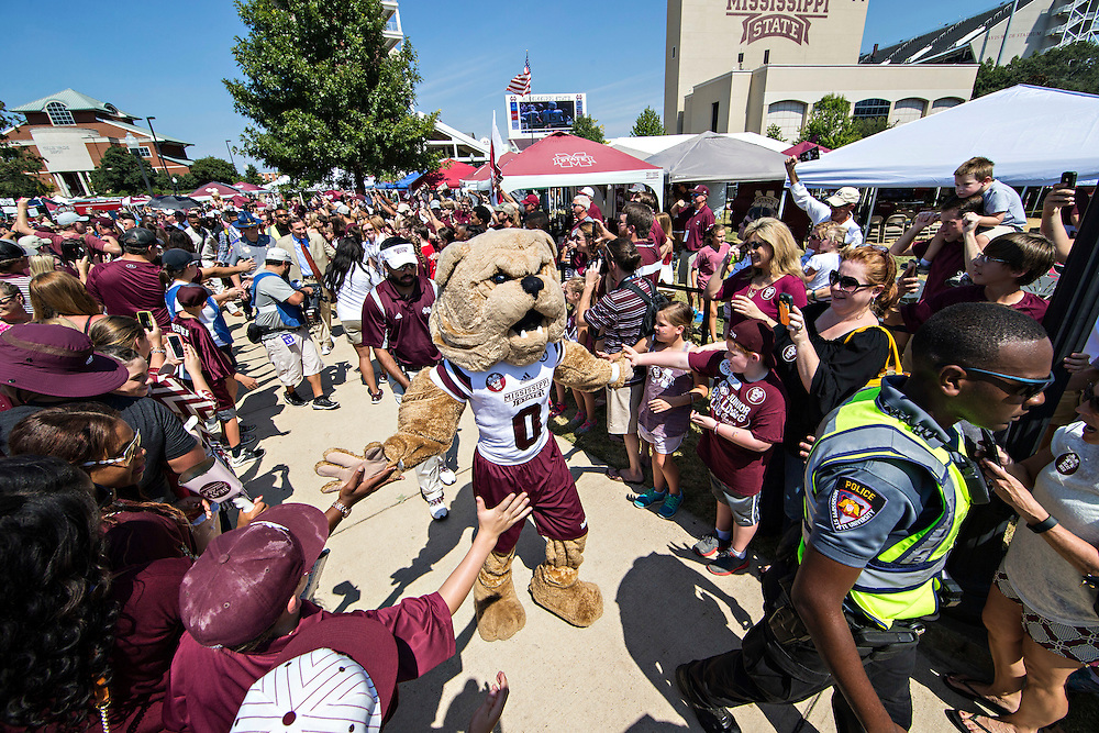 STARKVILLE, MS - SEPTEMBER 19:  Bully, the mascot of the Mississippi State Bulldogs, greets fans during the walk into the stadium before a game against the Northwestern State Demons at Davis Wade Stadium on September 19, 2015 in Starkville, Mississippi.  (Photo by Wesley Hitt/Getty Images) *** Local Caption ***