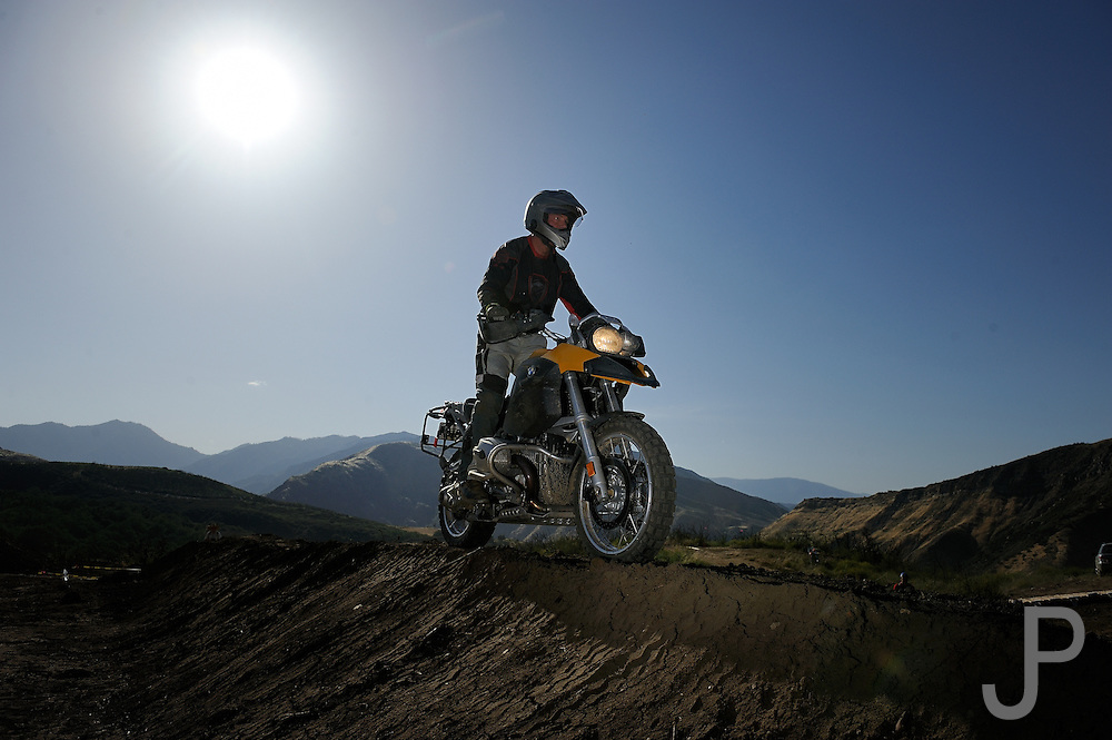 Bill Dragoo on 2007 BMW R1200GS motorcycle at 2009 Rawhyde Adventure Challenge competition in Castaic, California