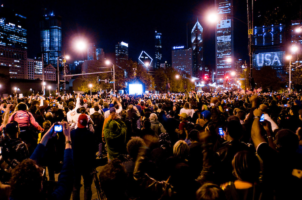 Obama Election Night in Grant Park, Chicago...Photographer: Chris Maluszynski /MOMENT