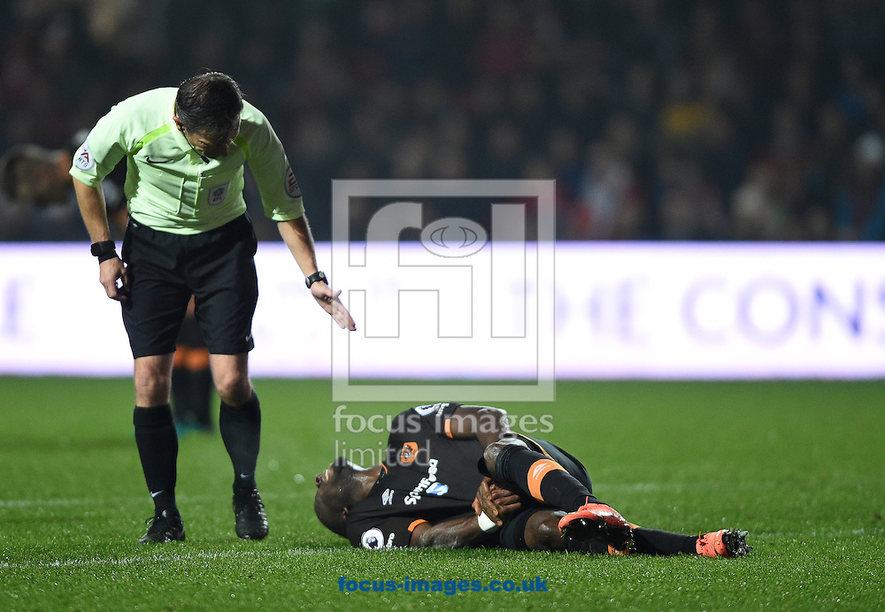 Hull City's Abel Hernandez lies injured during the EFL Cup match at Ashton Gate, Bristol<br /> Picture by Daniel Hambury/Focus Images Ltd +44 7813 022858<br /> 25/10/2016