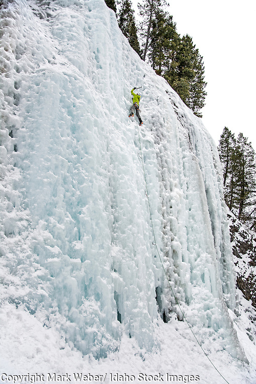Elijah Weber ice climbing a route called Genesis 1 which is rated WI-4 and located in Hyalite Canyon in the Gallatin Mountains near the city of Bozeman in southern Montana