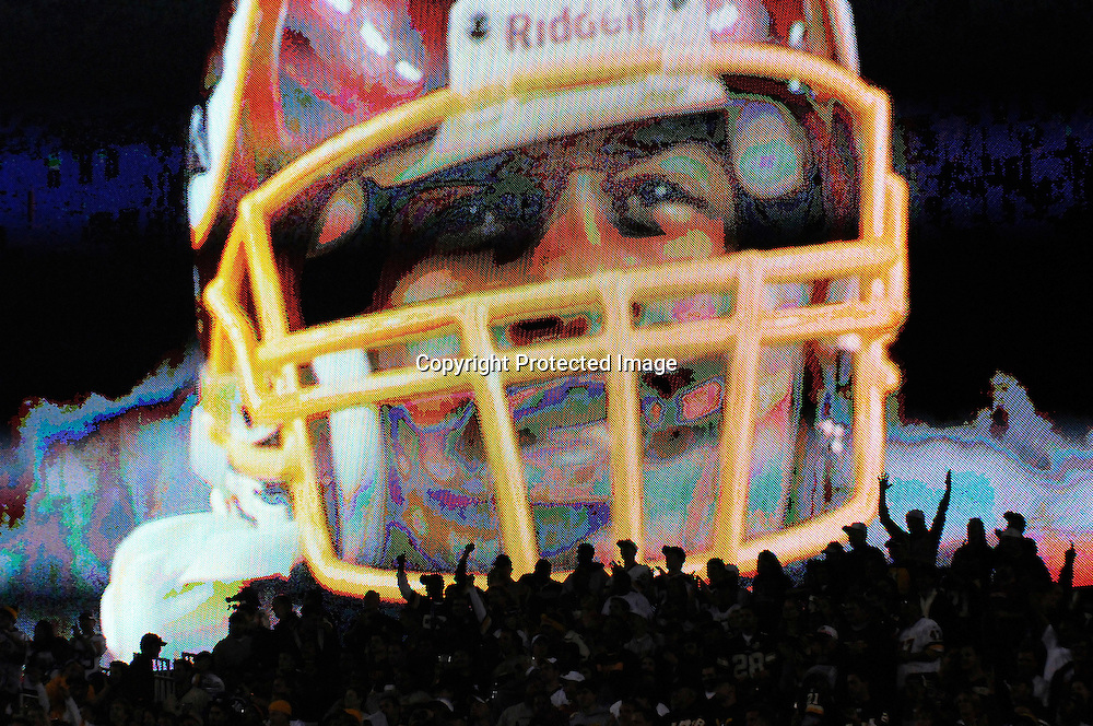 Fans cheer as Washington Redskins quarterback Donovan McNabb appears on the video screen as he takes the field for their NFL football game against the Indianapolis Colts in Landover, Maryland, October 17, 2010.  REUTERS/Jonathan Ernst (UNITED STATES - Tags: SPORT FOOTBALL IMAGES OF THE DAY) - RTXTJPY