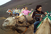 A group of tourists take a camel ride in Timanfaya National Park,  Lanzarote, Canary Islands, Spain.