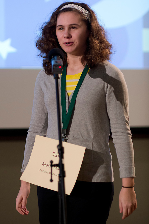 Maria Keller of Fairbanks Middle School introduces herself during the Southeastern Ohio Regional Spelling Bee Regional Saturday, March 16, 2013. The Regional Spelling Bee was sponsored by Ohio University's Scripps College of Communication and held in Margaret M. Walter Hall on OU's main campus.