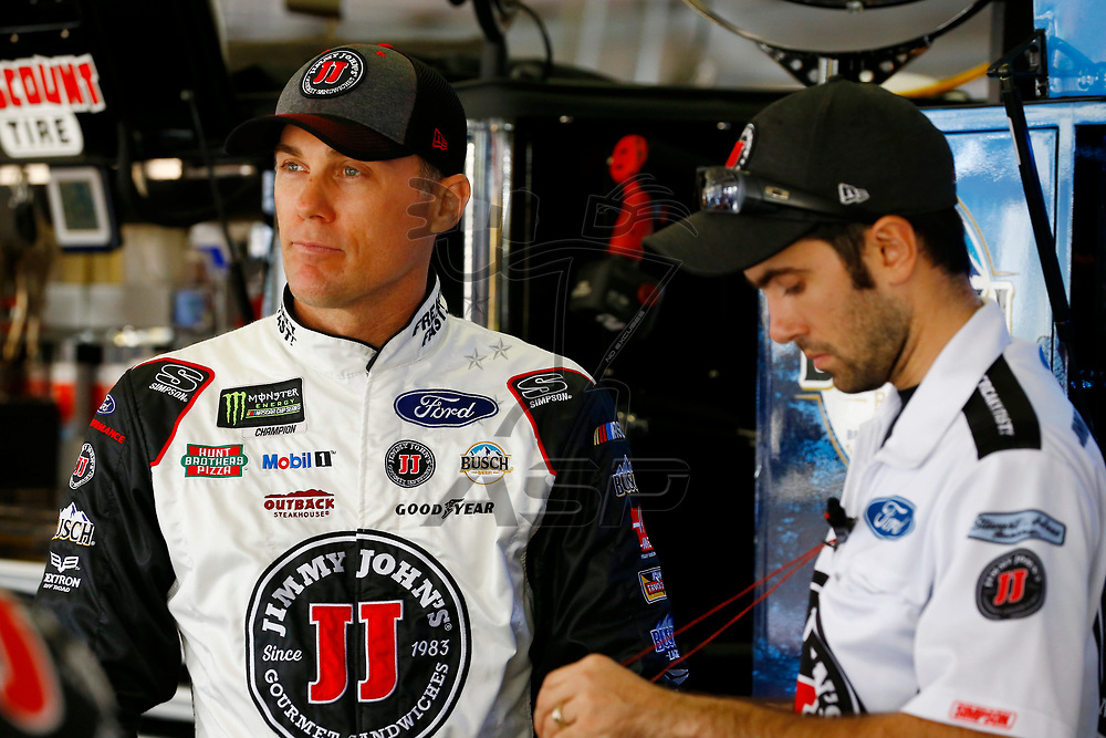 February 23, 2018 - Hampton, Georgia, USA: Kevin Harvick (4) hangs out in the garage during practice for the Folds of Honor QuikTrip 500 at Atlanta Motor Speedway in Hampton, Georgia.