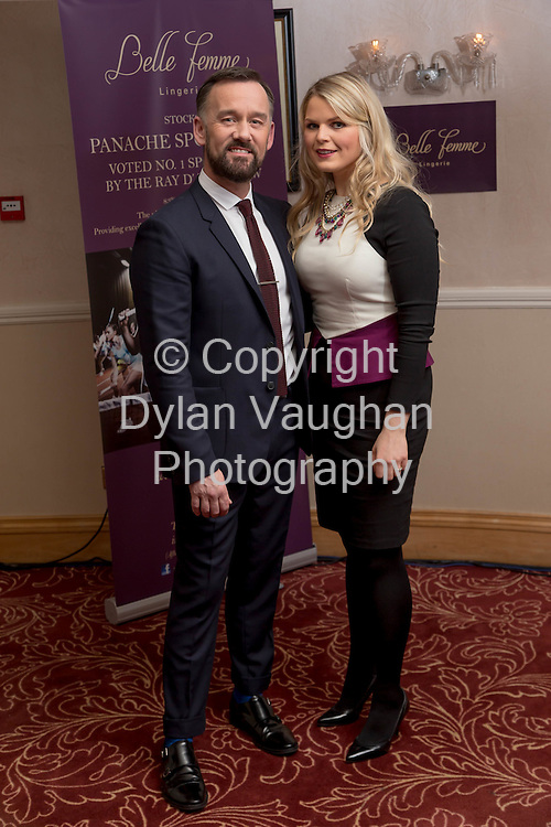 Repro free no charge for repro<br /> <br /> 27/11/14<br /> &lsquo;Get Fitted for Christmas&rsquo; with Belle Femme Lingerie and Brendan Courtney<br />  <br /> Belle Femme Lingerie Boutique hosted their &lsquo;Get Fitted for Christmas&rsquo; style evening with RTE&rsquo;s Brendan Courtney in a fun and festive lingerie showcase on Thursday, November 27th at the Rivercourt Hotel in Kilkenny City.<br /> <br /> Pictured at the event was Brendan Courtney and Karen Maher, Karen Maher Makeup Artist Kilkenny.<br />  <br /> Ladies were invited to come along and enjoy a glass of mulled wine, while taking in a fashion show of the latest designs in lingerie-wear for the festive season.<br />  <br /> Brendan Courtney of RTE&rsquo;s Off The Rails fashion programme hosted the event and offered guests advice and style tips on dressing to impress for Christmas party nights.<br />  <br /> Proprietor of Belle Femme Lingerie, Bridget Kearney was also available for lingerie fitting and there were several fitting rooms on site for those who wish to &lsquo;get fitted for Christmas&rsquo;!<br /> Picture Dylan Vaughan.