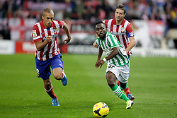 27.10.2013, Estadio Vicente Calderon, Madrid, ESP, Primera Division, Atletico Madrid vs Real Betis, 10. Runde, im Bild Atletico de Madrid's Miranda (L) and Gabi (R) and Real Betis Cedrick // Atletico de Madrid's Miranda (L) and Gabi (R) and Real Betis Cedrick during the Spanish Primera Division 10th round match between Club Atletico de Madrid and Real Betis at the Estadio Vicente Calderon in Madrid, Spain on 2013/10/28. EXPA Pictures &copy; 2013, PhotoCredit: EXPA/ Alterphotos/ Victor Blanco<br /> <br /> *****ATTENTION - OUT of ESP, SUI*****