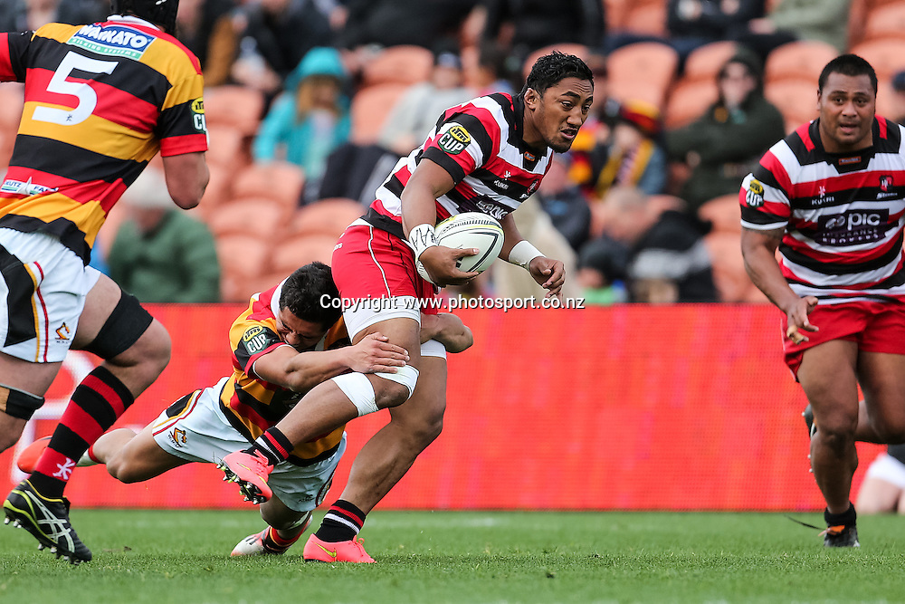 Counties Maunkau's Bundee Aki  in action during the ITM Cup rugby match - Waikato v Counties Manukau at Waikato Stadium, Hamilton on Sunday 14 September 2014.  Photo: Bruce Lim / www.photosport.co.nz