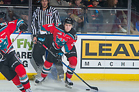 KELOWNA, CANADA - OCTOBER 28: Kyle Topping #24 of the Kelowna Rockets passes the puck against the Prince George Cougars on October 28, 2017 at Prospera Place in Kelowna, British Columbia, Canada.  (Photo by Marissa Baecker/Shoot the Breeze)  *** Local Caption ***