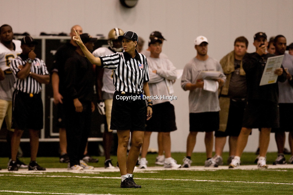 08 August 2009: Official Sarah Thomas of Jackson, Mississippi on the field during the New Orleans Saints annual training camp  Black and Gold scrimmage held at the team's practice facility in Metairie, Louisiana. Thomas currently a Conference USA college official hopes to become the NFL's first female referee.