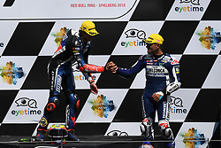 August 12, 2018 - Spielberg, Austria - 12 Italian driver Marco Bezzecchi of Team Pruestl GP and  88 Spanish driver Jorge Martin of Team Del Conca Gresini during podium ceremony of Austrian MotoGP grand prix in Red Bull Ring  in Spielberg, on August 12, 2018. (Credit Image: © Andrea Diodato/NurPhoto via ZUMA Press)