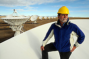 pvc121609a/12-16-09/asec.  Rick Perley (CQ) EVLA Project Scientist, stands in the dish of a radio antenna at the Very Large Array near Socorro Wednesday Dec. 16, 2009.  (Pat Vasquez-Cunningham/Journal)