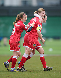 Bristol Academy's Grace McCatty celebrates with Bristol Academy's Christie Murray  - Photo mandatory by-line: Joe Meredith/JMP - Mobile: 07966 386802 - 01/03/2015 - SPORT - Football - Bristol - SGS Wise Campus - Bristol Academy Womens FC v Aston Villa Ladies - Women's Super League