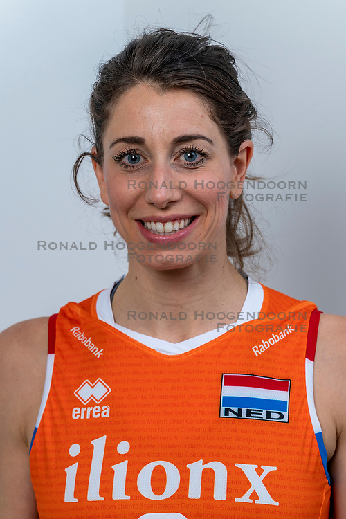 28-12-2019 NED: Team photo Volleyball women, Arnhem<br /> Volleyball women photoshoot before the final training when they leave for Olympic Qualification Tournament / Floortje Meijners #8 of Netherlands