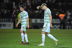Dejection for Yeovil Town's James Berrett  and Yeovil Town's Byron Webster - Photo mandatory by-line: Harry Trump/JMP - Mobile: 07966 386802 - 10/03/15 - SPORT - Football - Sky Bet League One - Yeovil Town v Bristol City - Huish Park, Yeovil, England.