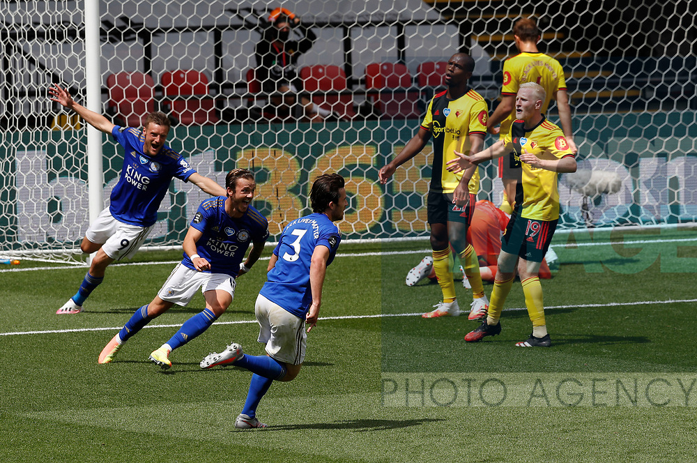 Ben Chillwell of Leicester City (3rdR) turns to celebrate scoring the first goal during the Premier League match at Vicarage Road, Watford. Picture date: 20th June 2020. Picture credit should read: Darren Staples/Sportimage