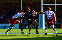 Ollie Devoto of Exeter Chiefs is tackled by Courtney Lawes of Northampton Saints - Mandatory by-line: Ryan Hiscott/JMP - 25/05/2019 - RUGBY - Sandy Park - Exeter, England - Exeter Chiefs v Northampton Saints - Gallagher Premiership Rugby Semi-Final