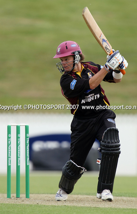 Knights captain James Marshall on his way to 55 not out. Northern Knights v Bangladesh. One day tour cricket match. Seddon Park, Hamilton. Sunday 16 December 2007. Photo: Stephen Barker/PHOTOSPORT
