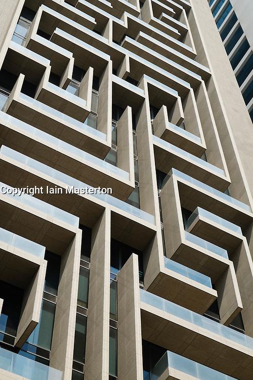 Detail of intricate architecture of skyscraper facade in Dubai United Arab Emirates