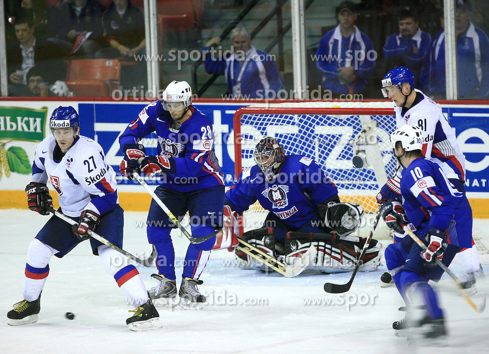 Ivan Ciernik of Slovakia, Ales Kranjc and Goalkeeper of Slovenia Andrej Hocevar at ice-hockey game Slovenia vs Slovakia at second game in  Relegation  Round (group G) of IIHF WC 2008 in Halifax, on May 10, 2008 in Metro Center, Halifax, Nova Scotia, Canada. Slovakia won after penalty shots 4:3.  (Photo by Vid Ponikvar / Sportal Images)