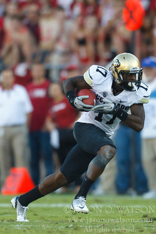 Oct 8, 2011; Stanford CA, USA;  Colorado Buffaloes wide receiver Toney Clemons (17) rushes up field after a pass reception against the Stanford Cardinal during the second quarter at Stanford Stadium.  Stanford defeated Colorado 48-7. Mandatory Credit: Jason O. Watson-US PRESSWIRE