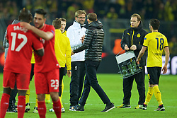 DORTMUND, GERMANY - Thursday, April 7, 2016: Liverpool's manager Jürgen Klopp and Borussia Dortmund's head coach Thomas Tuchel after the 1-1 draw during the UEFA Europa League Quarter-Final 1st Leg match at Westfalenstadion. (Pic by David Rawcliffe/Propaganda)