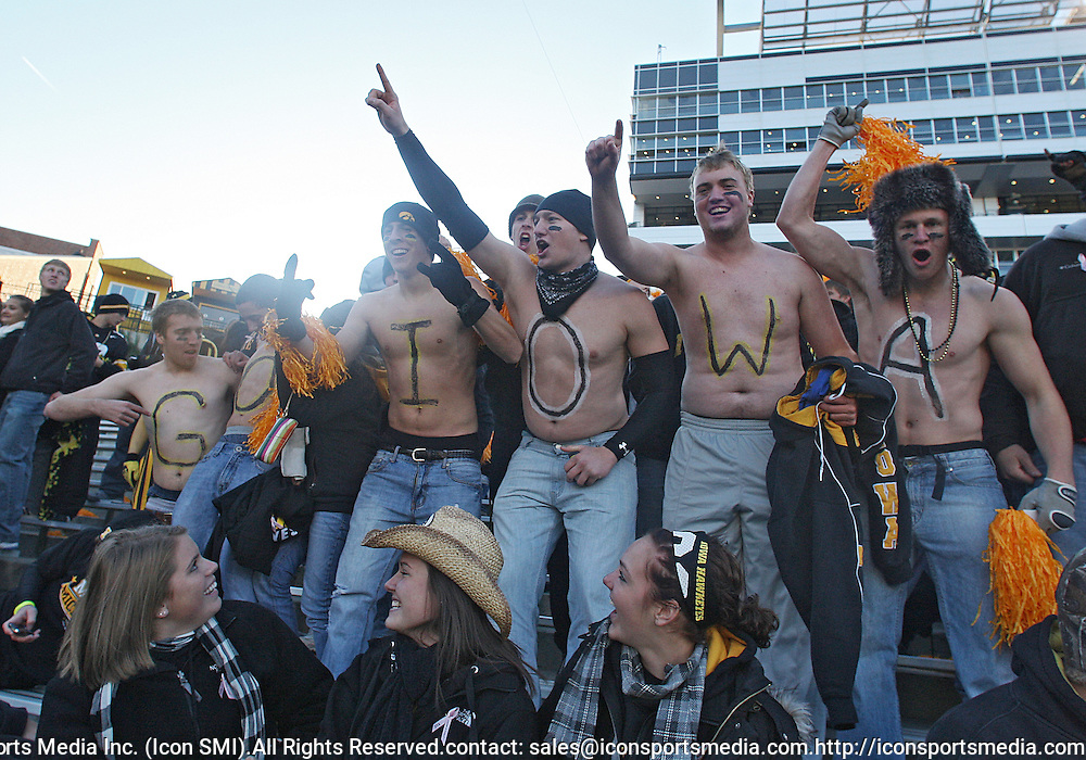 October 10, 2009: Students run in before the Iowa Hawkeyes' 30-28 win over the Michigan Wolverine's at Kinnick Stadium in Iowa City, Iowa on October 10, 2009.