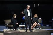 London, UK. 16.03.2017. &quot;Roman Tragedies&quot; presented by Toneelgroep Amsterdam,  William Shakespeare's &quot;Coriolanus&quot;, Julius Caesar&quot; and &quot;Anthony and Cleopatra&quot;, at the Barbican Theatre.  <br />  Coriolanus - Frieda Pittoors (Volumnia), Gijs Scholten van Aschst (Coriolanus), Janni Goslinga (Virgilia)
