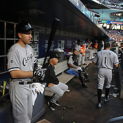 NEW YORK, NEW YORK - May 31:  Todd Frazier #21 of the Chicago White Sox preparing to bat in the dugout during the Chicago White Sox Vs New York Mets regular season MLB game at Citi Field on May 31, 2016 in New York City. (Photo by Tim Clayton/Corbis via Getty Images)