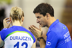 Lorenzo Micelli, head coach of PGE Atom Trefl Sopot and Agata Durajczyk of PGE Atom Trefl Sopot during the volleyball match between Calcit Ljubljana and  PGE Atom Trefl Sopot at 2016 CEV Volleyball Champions League, Women, League Round in Pool B, 1st Leg, on October 29, 2016, in Hala Tivoli, Ljubljana, Slovenia.  (Photo by Matic Klansek Velej / Sportida)