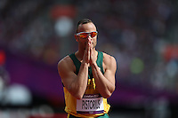 Oscar Pistorius during the track and field at the Olympic Stadium during day 8 of the London Olympic Games in London, England, United Kingdom on August 3, 2012..(Jed Jacobsohn/for The New York Times)..