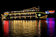 Saigon River Floating Restaurant - The Saigon River is a river located in southern Vietnam and flows south southeast for about 140 miles or 225 kilometers to the Mekong Delta. The Saigon River is important to Ho Chi Minh City as it is the main water supply as well as the location of Saigon Port a vital transportation for cargo.